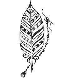 Ethnic feather with pattern vector