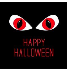 Evil red eyes in dark night happy halloween card vector