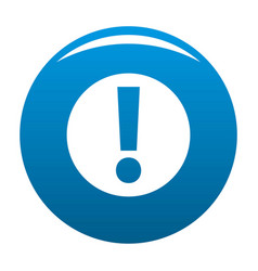 Exclamation point icon blue vector