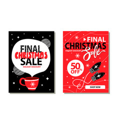 final christmas sale placards vector image