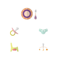 Flat child set of baby plate nipple mobile and vector