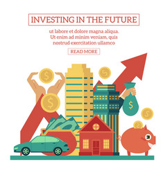 flat investing in the future poster vector image