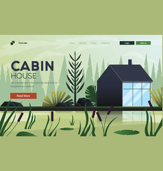 Flat modern design cabin house vector