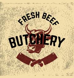 Fresh beef butchery hand drawn cow head on grunge vector