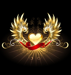 Golden heart with golden wings vector image