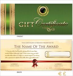 Green Gift certificate template vector
