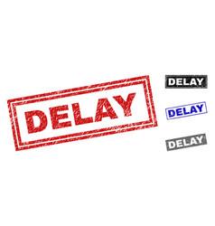 Grunge delay textured rectangle stamp seals vector