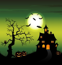 Halloween night backdrop with castle and pumpkins vector