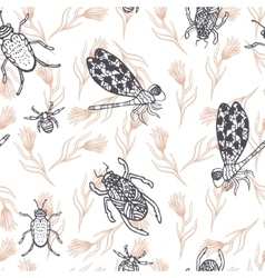 Hand drawn dragonfly ink doodle seamless pattern vector image