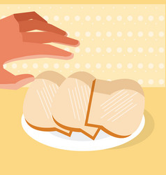 Hand grabbing slices of bread vector