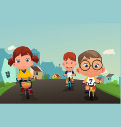 happy kids biking on street vector image