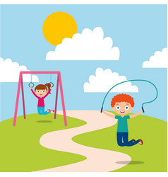 happy kids playing jum rope and bar monkey enjoy vector image