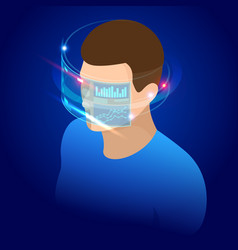 isometric man wearing goggle headset with touching vector image