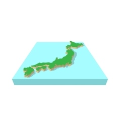 Japanese country map icon cartoon style vector