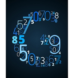 Letter G font from numbers vector