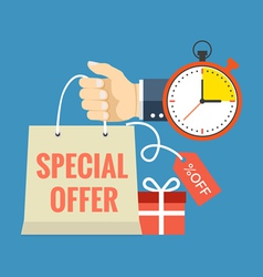 Limited time special offer concept Flat design vector