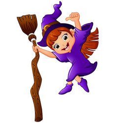 little witch cartoon holding broom and giving thum vector image