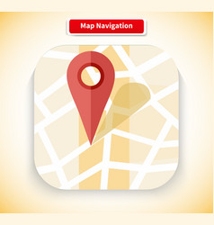 Map Navigation App Icon Flat Style Design vector