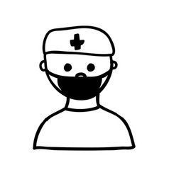 monochrome silhouette half body doctor with mask vector image