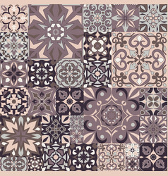 Mosaic patchwork ornament with square tiles vector