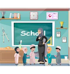 muslim professor standing in front of blackboard vector image