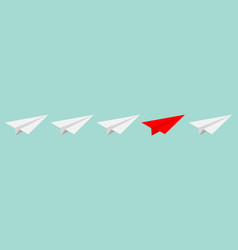 origami paper plane icon set white and red color vector image