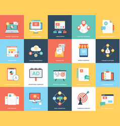Pack of digital marketing flat vector
