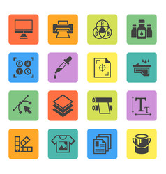 Printing service squre colored icons vector