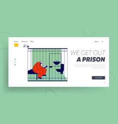 Prisoner in prison lifestyle website landing page vector