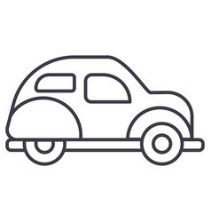 retro car line icon sign o vector image