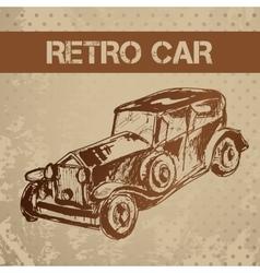 Retro car sketch for your design vector image