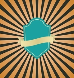 Retro vintage badge with brown sunrays background vector