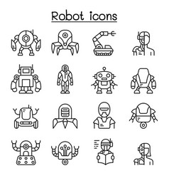 robot ai icon set in thin line style vector image