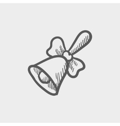 School bell with ribbon sketch icon vector