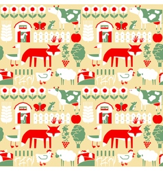 Seamless pattern with farm and cute animals vector