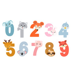 set children numbers with animals vector image