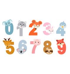 Set children numbers with animals vector