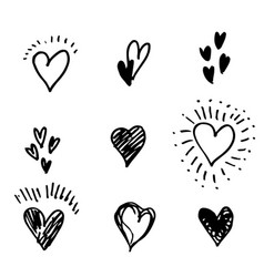 set hand drawn heart doodle hearts isolated vector image