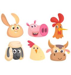 Set of cartoon farm animals head icons vector