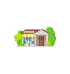 shop facade exterior wigs store building isolated vector image