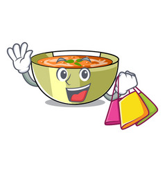 Shopping cartoon lentil soup ready to served vector