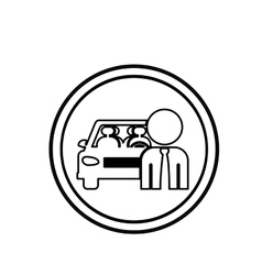 Silhouette circular shape with driver and vehicle vector