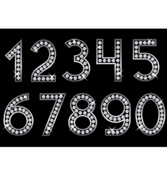 Silver metal numbers vector