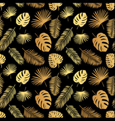 summer tropical palm tree leaves seamless pattern vector image