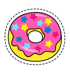 sweet doughnut sticker or label with dotted line vector image