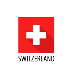 swiss national flag square shape isolated on white vector image