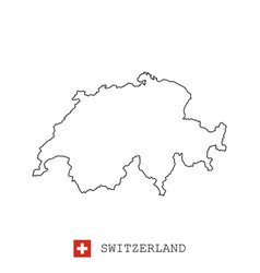 switzerland map line linear thin vector image
