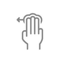 Tap with three fingers and swipe left line icon vector