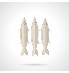 Three sardines flat icon vector image