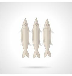 Three sardines flat icon vector